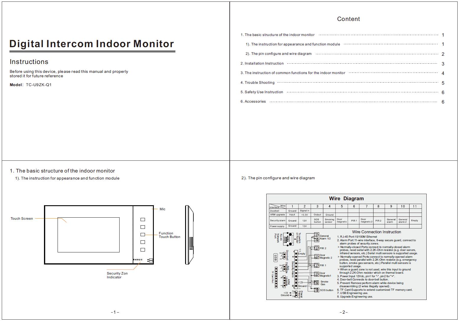 Indoor Monitor U9ZK-Q1 Instruction Manual-Zhuhai Taichuan Cloud ...